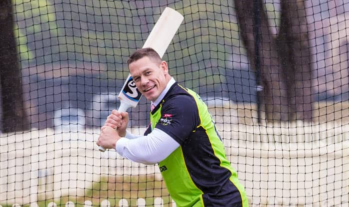 WWE Wrestler John Cena Tries his Hand at Batting After Being Coached by Australian Cricketer Shane Watson