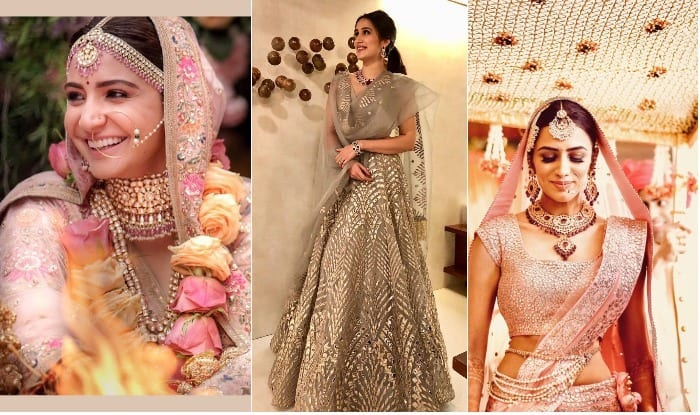 59285d0673 Anushka Sharma Wears Pink Lehanga for Her Dream Wedding with Virat Kohli: 5  Celebrity Brides Who Stayed Away From the Traditional Red At Their D-Day
