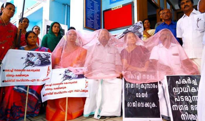 Kerala's Kochi Councillors Protest Against Growing Mosquito Menace By Draping A Net