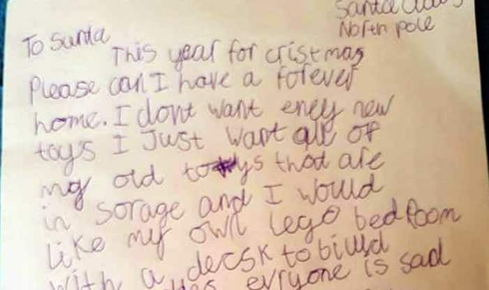 Little Boy Writes Emotional Letter to Santa Claus Asking for Forever Home as Christmas Gift