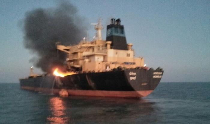 Fire on MT Genessa oil tanker (ANI)