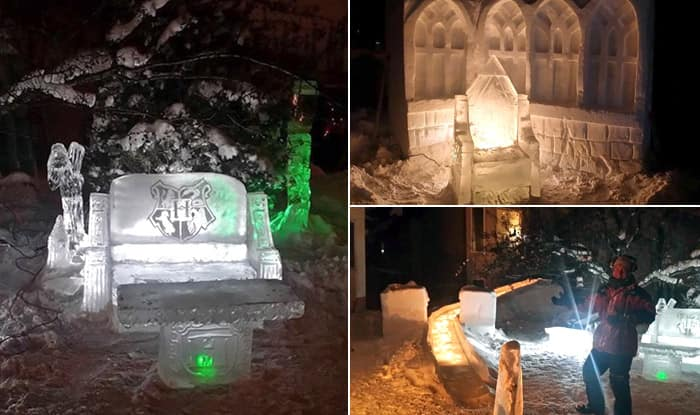 Canadian Father Makes Hogwarts's Great Hall With Ice Sculptures for Daughters, Pictures are Pure Magic