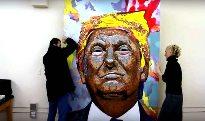 Face of Money: Exiled Ukrainian Artists Create 7-foot Portrait of Donald Trump Using Coins