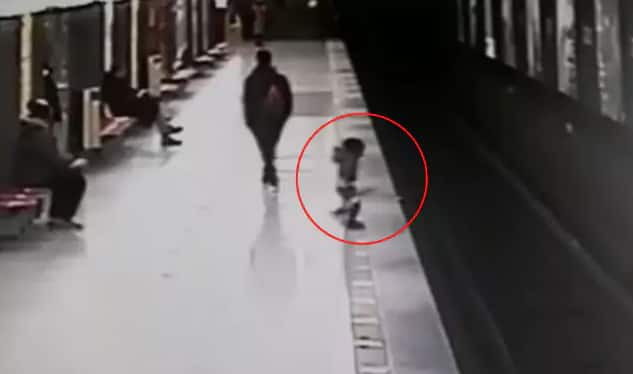 Jaw-dropping Video Shows Toddler Jump onto Tracks 90 Seconds Before Train Arrives