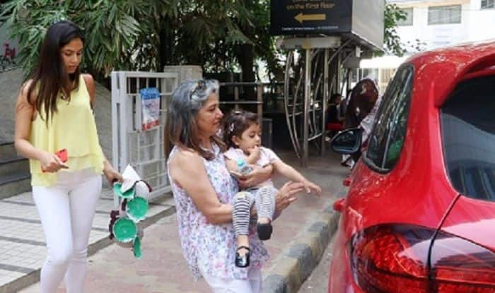 Misha Kapoor SPOTTED Exiting Art Class In Grandma's Lap While Mommy Mira Rajput Carries Her Artwork – View Pics