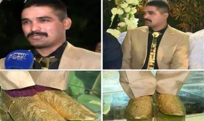 4b4d8efa8a Pakistan Groom Wears Gold Shoes & Crystal Tie Worth Rs 25 Lakhs at his  Wedding, Internet Loses it