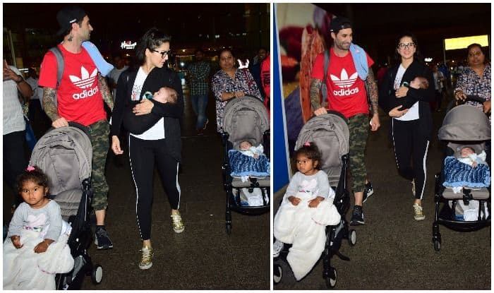 Sunny Leone, Daniel Weber Spotted With Daughter Nisha And Newborn Twins – See Pics