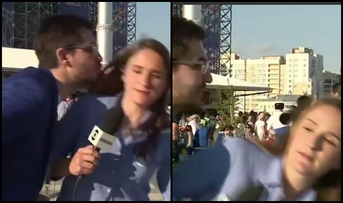 Brazilian Reporter gets kissed