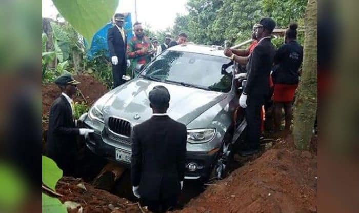 Nigerian Man Buries His Father in Brand New £66,000 BMW; Picture Goes Viral