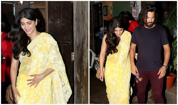 Shruti Haasan Looks Gorgeous in a Yellow Sari As She Steps Out For a Dinner Date With Beau Michael Corsale – View Pics