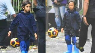Aamir Khan's Son, Azad Khan, SPOTTED Enjoying a Game of Football in the Rain – View Pics