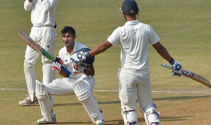 Akshay Wadkar celebrates after scoring maiden Ranji hundred_PTI