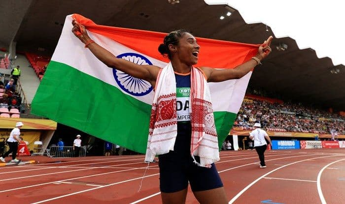 Hima Das celebrates winning gold in the final of the women's 400m on day three of The IAAF World U20 Championships_Getty