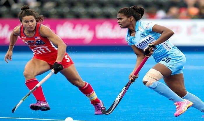 India Women's Team in Action vs USA during Hockey world Cup 2018_Hockey India