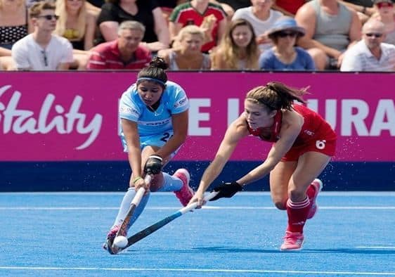 India and England players in action during Women's Hockey World Cup_Hockey India Twitter