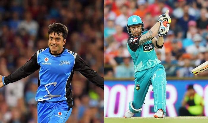 Rashid Khan and Brendon McCullum in action during the match_Getty