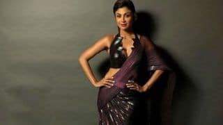 Shilpa Shetty Looks Her Sexiest Best as India Couture Week Showstopper in Metallic Plum Saree – View Pictures