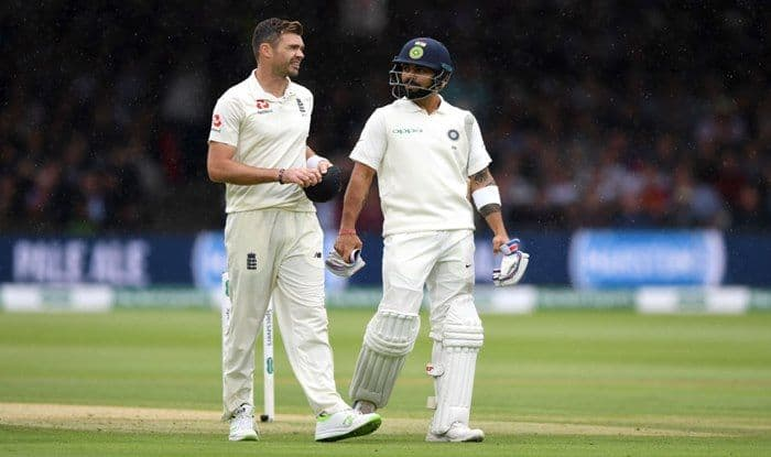 James Anderson and India captain Virat Kohli chat as they leave the field for rain during day two of the 2nd Test between England and India at Lord's Cricket Ground_Getty