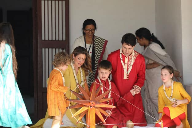 d74c8cb33b Canadian PM Justin Trudeau Visits Sabarmati Ashram: Adorable Photos of  Trudeau Family in Traditional Indian Clothes