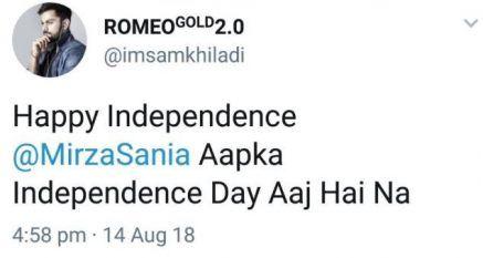 Sania Mirza Replies to Troll on Pakistan's Independence Day
