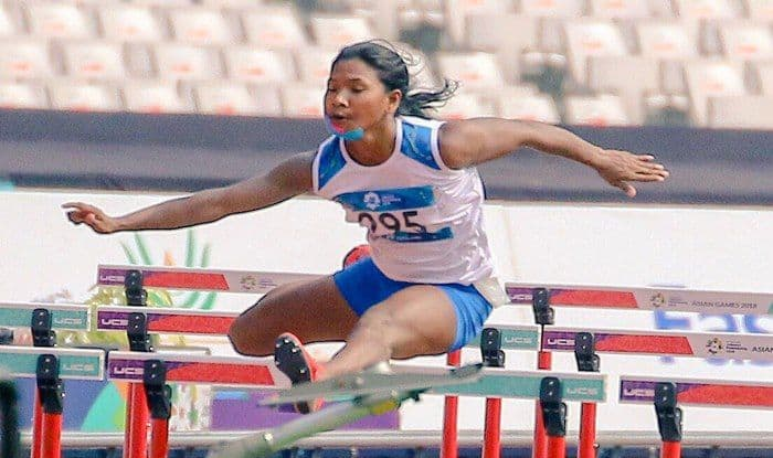 Swapna Barman in action during Asian Games 2018_AFI Twitter