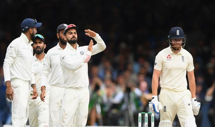 Virat Kohli asks for a review much to the bemusement of England batsman Jonny Bairstow during Day 3 of the 2nd Test between England and India at Lord's_Getty