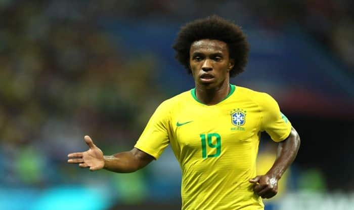 Willian looks on during the 2018 FIFA World Cup Russia Quarter Final match between Brazil and Belgium at Kazan Arena_Getty