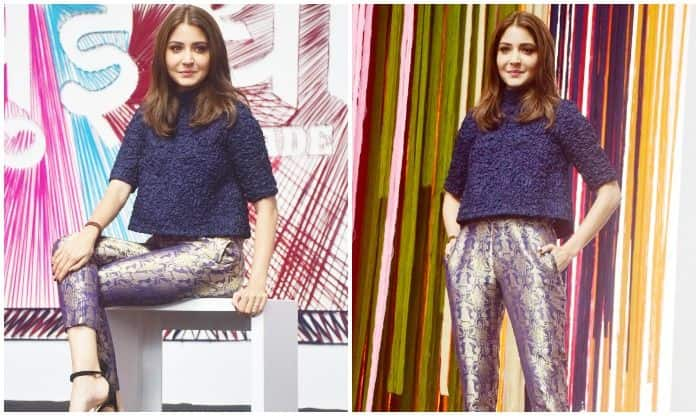 Sui Dhaaga Trailer Launch: Anushka Sharma Looks Dapper in Her Blue and Golden Outfit – See Pics