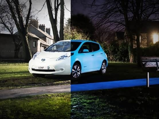 Nissan Leaf Electric Car Nissan Develops Special Glow In The Dark