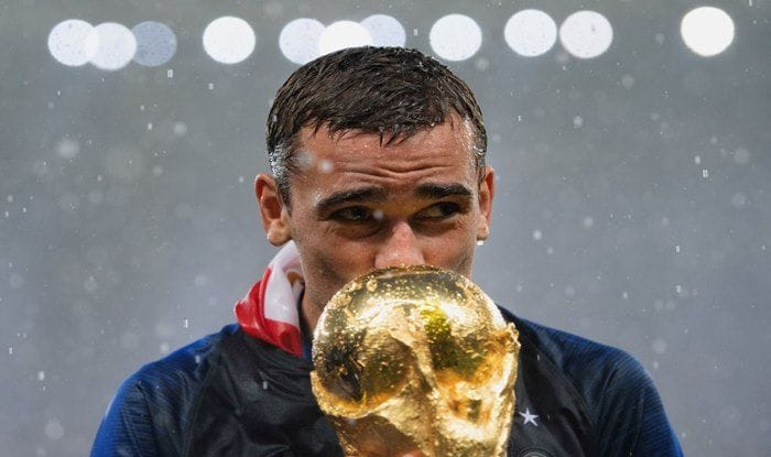 Antoine Griezmann of France celebrates with the World Cup Trophy following his sides victory in the 2018 FIFA World Cup Final_Getty