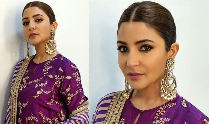 Anushka Sharma Looks Like a Royalty in a Purple Sabyasachi Suit While Promoting Sui Dhaaga: Made in India; Check Out Pics