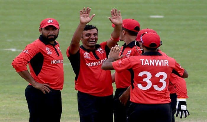 File Image of bowler Ehsan Khan of Hong Kong celebrating a wicket with teammates_Getty