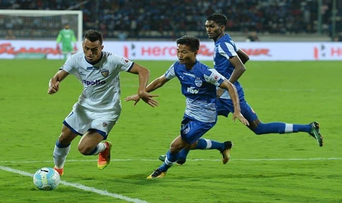 File Image of Mailson Alves (L) and Bengaluru FC player Boithang Haokip (C) fight for the ball during the last year's final between Bengaluru FC and Chennaiyin FC_Getty