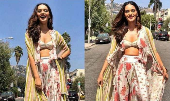 Miss World Manushi Chillar Looks Super Hot in White And Peach Floral Outfit During Her Los Angeles Vacay – See Pictures