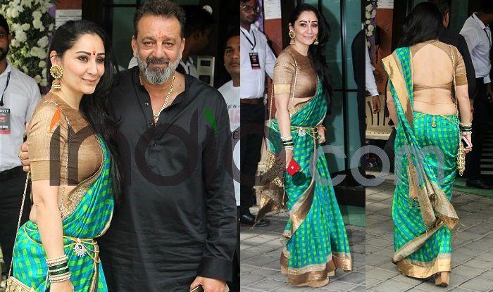 Sanjay Dutt's wife, Manyata Dutt Looks Ravishing in a Green Saree And Backless Blouse at Arpita Khan's Ganpati Puja; See Latest Pics