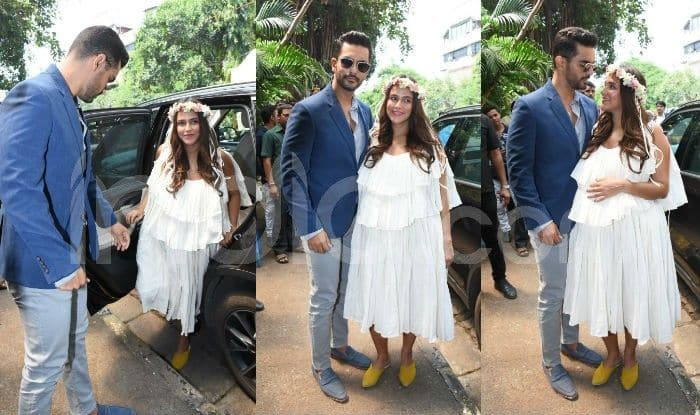 Neha Dhupia Baby Shower Pics: Actress Dresses Like Greek Goddess And Angad Bedi Can't Take Off His Eyes From Her