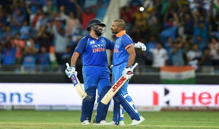 Rohit Sharma, Shikhar Dhawan celebrate hundreds against India in Super Four match during Asia Cup 2018_ICC Twitter
