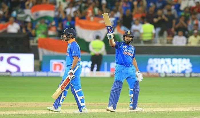 Rohit Sharma celebrates fifty during the 5th ODI in Asia Cup 2018 between India and Pakistan at Dubai International stadium_Getty