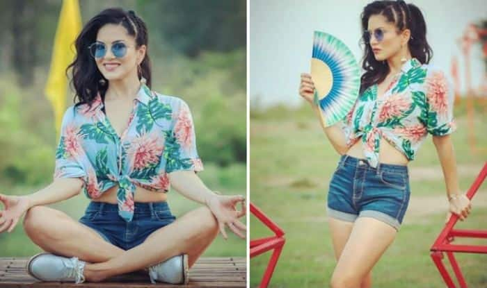Sunny Leone Looks Smoking Hot in Floral Crop Top And Denim Shorts on The Sets of Splitsvilla 11 – See Pictures
