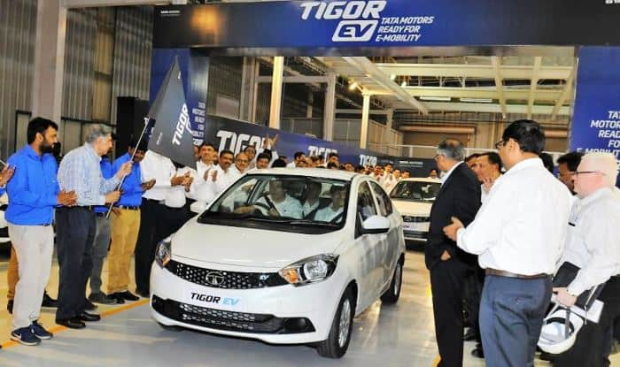 Tata Tigor Electric Vehicles Flagged-off from Sanand plant