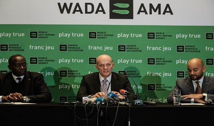 World Anti-Doping Agency (WADA), Gunter Younger, head of Athletics Integrity Unit (AIU), Brett Clothier (R), and CEO of the Anti-Doping Agency of Kenya (ADAK), Japhter Rugut, attend a press conference_Getty
