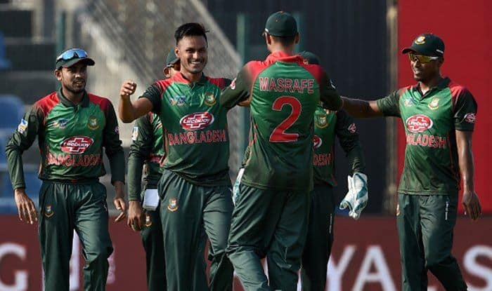 Abu Hider (2L) celebrates with teammates after he dismissed Afghan batsman Rahmat Shah during the one day international (ODI) Asia Cup cricket match between Bangladesh and Afghanistan at the Sheikh Zayed Stadium in Abu Dhabi on September 20, 2018. (Getty Image)