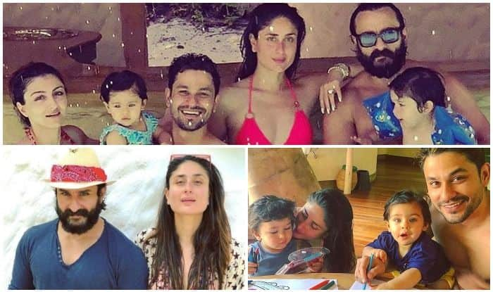 Taimur Ali Khan, Kareena Kapoor Khan, Saif Ali Khan, Soha Ali Khan, Kunal Kemmu And Inaaya Kemmu's Latest Pool Pictures From Their Maldives Vacation