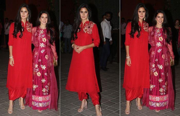 Katrina Kaif And Isabelle Kaif Twin in Red at Arpita Khan Sharma's Ganesh Chaturthi Celebration, See Pics