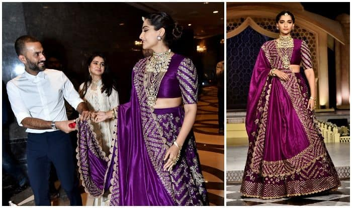 Sonam Kapoor Reliving Her Bridal Days in an Embellished Purple Lehenga at an Event in Delhi; Anand Ahuja Cannot Let go of Her Dupatta