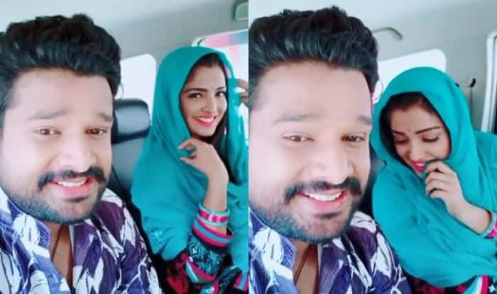 Bhojpuri Hottie Amrapali Dubey Can't Stop Blushing as She Grooves to a Song With Saiyyan Thaanedaar Co-Star Ritesh Pandey