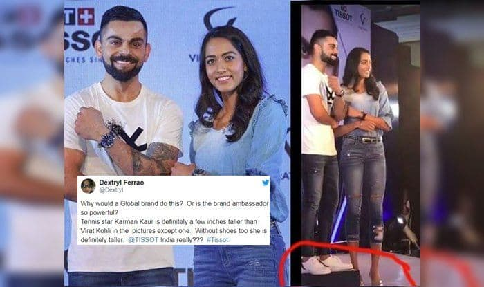 India Captain Virat Kohli TROLLED For Trying to Match Height of Tennis Star Karman Kaur Thandi
