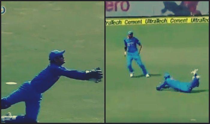 India vs West Indies 3rd ODI at Pune: MS Dhoni Takes a Blinder to Dismiss Chandrapaul Hemraj of Jasprit Bumrah — WATCH