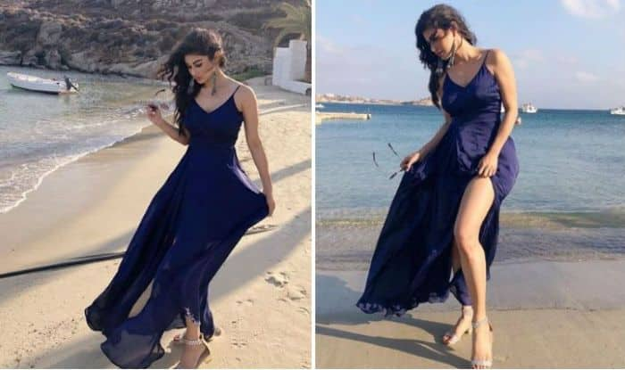 Naagin Fame Mouni Roy Looks Uber Hot as She Poses in Sexy Blue Dress on a Beach – See Pictures