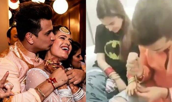Prince Narula Applying Mehendi on Wife Yuvika Chaudhary's Hands On Her First Karva Chauth is Too Cute; Check Out Video